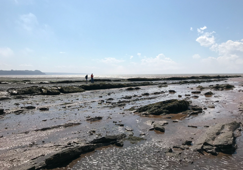 Two distant figures on a rocky beach