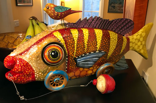 Stylized sculpture of a fish